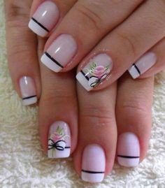 French tip nail design with flowers