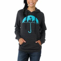 The rain isn't even that bad in the great Northwest, but the Umbrella hoodie from Casual Industrees is always fresh. This girls hooded sweatshirt is all charcoal grey with a teal Seattle Skyline silhouette on an Umbrella screen printed on the front. The drawstring hood and front pocket make this lightweight pullover hoodie great for a day on Puget Sound or chillin' at Alki Beach.