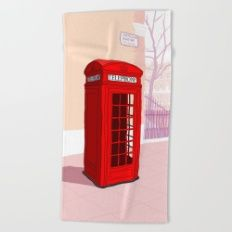 London Telephone Box Beach Towel