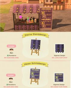 animal crossing new horizons I started a booth area near Nooks Cranny and thought Id share this Witch/ Fortune Teller Booth patterns : animalcrossingdesign Animal Crossing 3ds, Animal Crossing Qr Codes Clothes, Animal Games, My Animal, Ac New Leaf, Motifs Animal, Island Design, Nintendo Switch, Cute Animals