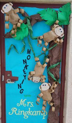 Jungle classroom door safari theme new ideas Jungle Classroom Door, Rainforest Classroom, Rainforest Theme, Preschool Classroom, Classroom Themes, Jungle Door, Jungle Bulletin Boards, Amazon Rainforest, Classroom Door Decorations