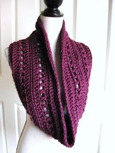 Crocheted Cowl ScarfPlumPurpleHandmade by RoseJasmine on Etsy