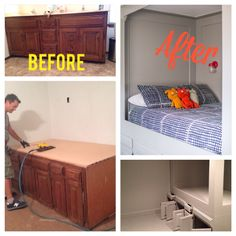 diy turn an old bathroom vanity into a built in bed, painted furniture, repurposing upcycling, woodworking projects