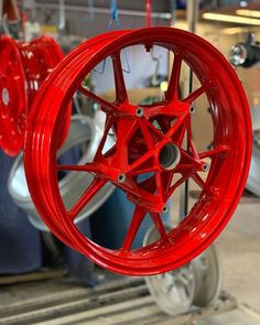 Gloss red's on these wheels in time for weather Powder Coating Oven, Powder Coat Colors, Red S, Custom Paint, Wheels, Bmw, Weather, Weather Crafts
