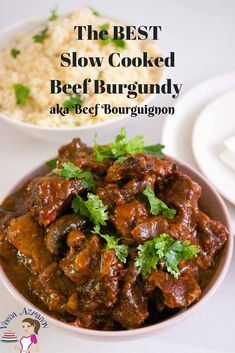 Learn to make the perfect slow-cooked beef burgundy aka beef bourguignon weather you choose to make it in a slow cooker the stove top or the oven. Made with delicious burgundy wine and slow cooked until fork tender this is pure comfort food. Cubed Beef Recipes, Slow Cooker Recipes, Meat Recipes, Wine Recipes, Cooking Recipes, Cooking Blogs, Crockpot Recipes, Recipes With Beef Cubes, Braiser Recipes