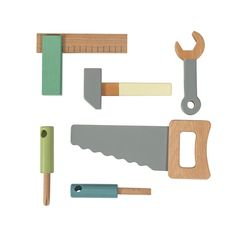Play architect or builder with your little one with this beautiful wooden tool set from Sebra. The tool set encourages creativity and imagination while contribu Toddler Toys, Kids Toys, Making Wooden Toys, Tool Bench, Construction Tools, Buy Toys, Children's Toys, Wood Tools, Montessori Toys