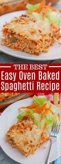 I LOVE this simple Easy Baked Spaghetti. Cheap and easy to m Easy Dinners For Two, Dinner Recipes Easy Quick, Easy Healthy Dinners, Quick Easy Meals, Cheap And Easy Recipes, Dinner Healthy, Recipes Dinner, Dinner Ideas, Easy Baked Spaghetti