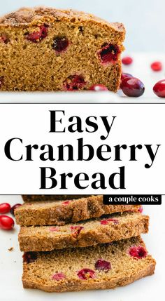 This festive cranberry bread is so easy to make! It's got a hint of bourbon and is just sweet enough, punctuated by tangy cranberries. Cranberry Salsa, Cranberry Cocktail, Cranberry Bread, Healthy Blueberry Muffins, Couple Cooking, Dessert For Dinner, Dessert Ideas, Sweet Tarts, Healthy Dessert Recipes