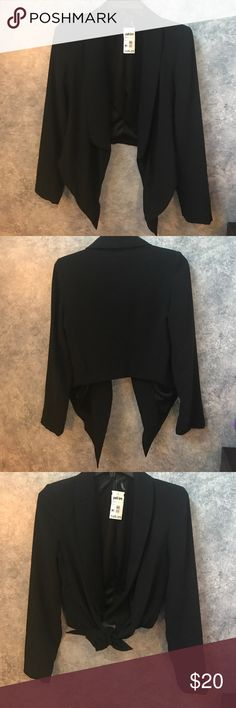 Posh Love Black Cropped Tie Blazer - S Posh Love Hommage Black tie cropped blazer. So cute with a dress or high waisted pants! Size S. Fitted. NWT posh love Jackets & Coats Blazers