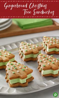 At Publix, Christmas Traditions are Gifts Worth Sharing. Learn How to Make Homemade Gingerbread Christmas Tree Sandwiches. Gingerbread Christmas Tree, Christmas Tree Cookies, Christmas Desserts, Holiday Treats, Christmas Treats, Christmas Baking, Holiday Recipes, Christmas Recipes, Gingerbread Cookies