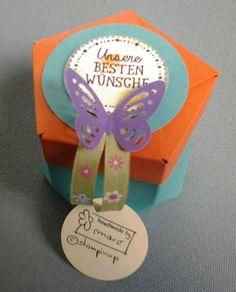 Habe schnell eine Geschenkverpackung  für die Firmung gebraucht - Einmal die 5eckSchachtel in frischen Farben von STAMPINUP und ein Schmetterling. Der Spruch von Stampinup passt zu fast allem. Creativ by maro