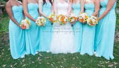 Bridesmaids Dresses and Flowers. Tiffany Blue with Bouquets of Daisies, Sunflowers and Roses. Yellow, White, Peach - Simply Regal by Julie