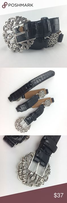Brighton Sz 34 Empire Lace Stretch Rhinestone Belt Gorgeous belt in gently used condition. Swarovski crystals and fine Brighton leather with a shiny reptile print finish. Very light signs of wear on buckle and at the fourth hole. Brighton Accessories Belts