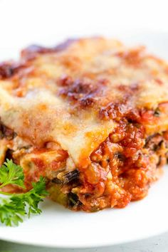 Classic Eggplant Lasagna that's full of cheesy goodness, without the pasta! Great for a gluten-free lasagna option or just for sneaking in a healthy vegetable. #thestayathomechef #eggplantlasagna #lasagna #eggplant