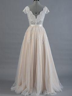 Lace wedding dress, wedding dress, bridal gown, cap sleeve V-back alencon lace…