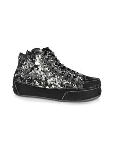 Bridget Black Sequined High-Top Suede Sneaker - Black and silver sequins reflect originality and street glam. Handmade in black suede, the Bridget high-tops add just the right glimmer to your glamour. Signature box included. Made in Italy.