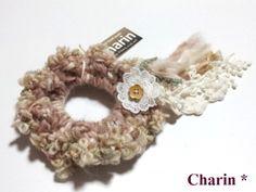 * Charin Hand made *レーススラブシュシュ/生成りピンク