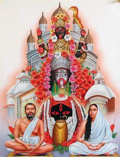 Goddess Kali of Kalighat, Tarapith and Dakshineshwar Flanked by Sri Ramkrishna and Sarada Maa - Hindu Posters (Reprint on Paper - Unframed) Maa Kali Images, Lord Shiva Hd Images, Durga Images, Lakshmi Images, Indian Goddess Kali, Goddess Lakshmi, Indian Gods, Goddess Art, Maa Durga Image