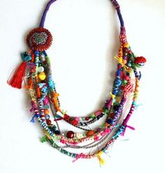Sweet Crazy II. Fiber beads colorful multi strand by GataValquiria