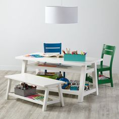 Shop Woodstock Play Table (White).  Our Woodstock Play Table (White) maximizes your playroom space by letting you stash books, bins and more underneath.  Shop play tables.