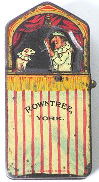 Rowntree's Chocolates tin,  an early miniature tin with Mr Punch. The small lever on the side operates and moves his arm.