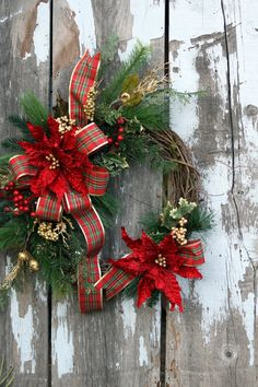 Christmas Wreath, Poinsettias, Red and Gold Berries, Pine and Plaid Bow