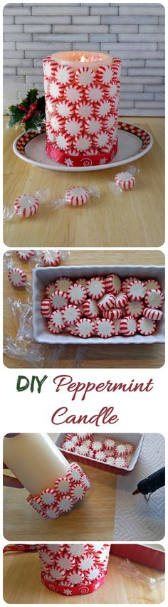 This DIY Peppermint Candle comes together in a flash and will make a festive addition to your holiday party table.