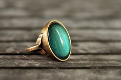 Mermaid ring statement ring antique brass ring glass by SomeMagic, $14.50