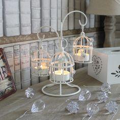 Bianco dipinto metallo gabbia uccelli portacandele tea light shabby chic vintage | eBay
