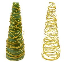 Nice and Easy Craft Christmas Tree with Green Styrofoam and Gold Wire