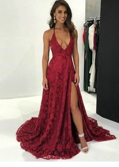 1d8c32965639 A-line wine red lace long prom dress with side slit 2018 deep v neck  burgundy lace long prom dress with train wedding party dress evening dress