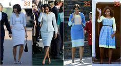 michelle obama jasnoniebieski Michelle Obama Fashion, Barack And Michelle, Diva Fashion, Skirts, Skirt Outfits, Skirt