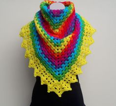 Crochet Rainbow Shawl - Video Tutorial from bobwilson123 on Youtube. Includes downloadable written instructions on the website http://www.bobwilson123.org/