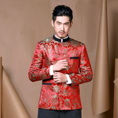 ~ Living a Beautiful Life ~ Fabulous Brocade Modern Chinese Tang Jacket - Red - Chinese Jackets - Men Chinese Man, Chinese Style, Chinese Fashion, Chinese Clothing For Men, Chinese New Year Outfit, Fashion Models, Fashion Outfits, Man Fashion, Traditional Dresses