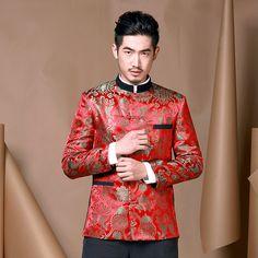 Fabulous Brocade Modern Chinese Tang Jacket - Red - Chinese Jackets - Men