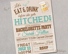 Bachelorette Party Card Cards Invitation Bridal by SAEdesignstudio, $1.35
