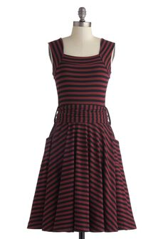 Guest of Honor Dress in Varsity Stripes. You'll be flooded with invitations when exhibiting this finely tailored frock by Effie's Heart!  #modcloth