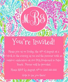 Monogrammed Lilly Pulitzer Party Invitation Tutorial Learn How To Make Your Own In Just 10