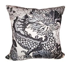 Schumacher Chiang Mai Dragon Smoke Decorative Pillow Cover - Throw Pillow - Accent Pillow - Both Sides or Solid Linen Back