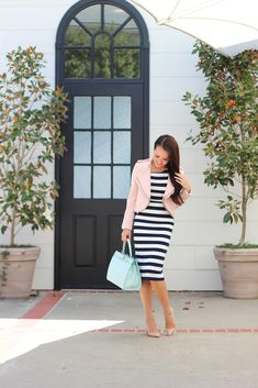 Navy Striped Midi, Zara Pink Cropped Jacket and Kate Spade Mint Tullie