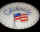 Homemade decorative 4th of July Plate order on Etsy at Sweet Louise Designs