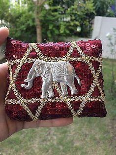 THAI ELEPHANT BAG RED COIN PURSE WALLET HANDMADE ZIPPER SOUVENIR GIFT THAILAND
