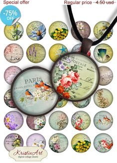 75% OFF SALE Cute Flowers  Digital collage by KristieArtDesign