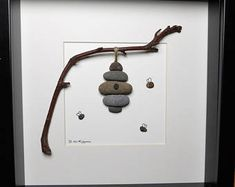 Scottish pebble art, pebble picture: Beehive - One of a kind/OOAK