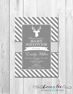 grey and white baby shower invites | Deer Baby Shower Invitation - Grey and White Stripes - DIY - Printable ...