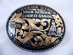 Vintage CHAMPION 2005 Nevada State High School Rodeo Western Trophy Belt Buckle