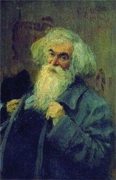Portrait of the author Ieronim Yasinsky, 1910  Ilya Repin.  Epic hair.