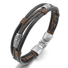 MunkiMix Metalllegierung Legierung Leder Echtleder Armband Armreifen Seil Schwarz Silber Braun Geflochten Herren,Damen: Amazon.de: Schmuck
