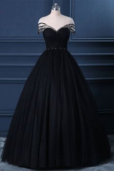 Black Tulle Cap Sleeve Black Tulle Crystal Long Formal Prom Dress, Party Dress CR 5702 in 2020 Black Wedding Dresses, Prom Party Dresses, Dress Party, Party Gowns, Bridal Dresses, Pretty Dresses, Beautiful Dresses, Formal Prom, Formal Dresses