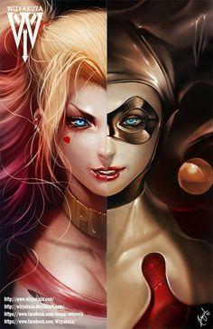 Harley Quinn (Margot Robbie & Cartoon) Split - escuadrón de suicidio y serie animada - 11 x 17 impresión Digital